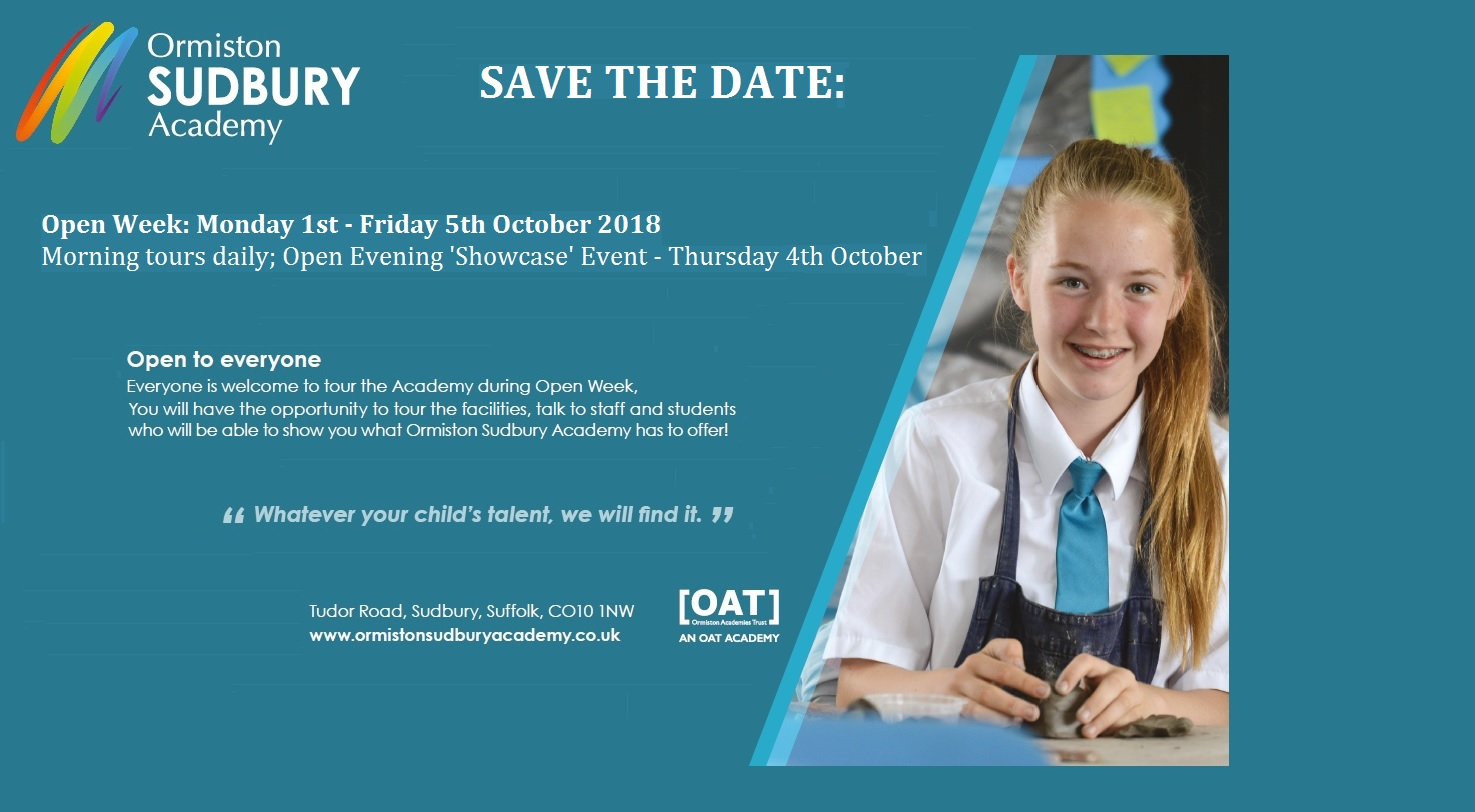 SAVE THE DATE: Open Evening – Thursday 4th October 2018